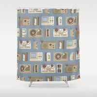 technology Shower Curtains featuring Obsolete Technology by Daniel long Illustration