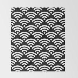 WiFi Pattern (white on black) Throw Blanket