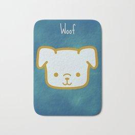 Woof - Dog Graphic - Chalkboard Inspired Bath Mat
