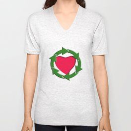 Recycle In Heart Unisex V-Neck