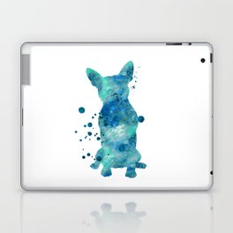 Boston Terrier Dog Watercolor Painting Blue Turquoise Aqua Mint Laptop & iPad Skin