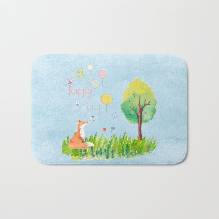 Fox- oh happy day on blue backround- Watercolor illustration Bath Mat