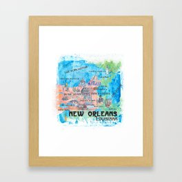 New Orleans Louisiana Illustrated Map with Main Roads Landmarks and Highlights Framed Art Print