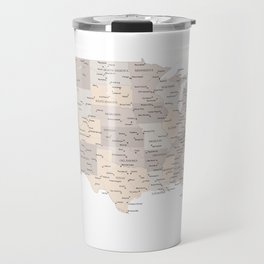 Brown USA map with states and cities Travel Mug