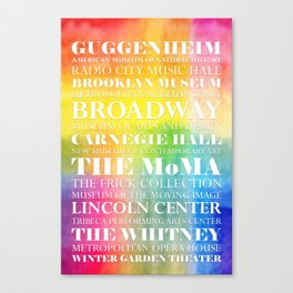 New York Arts - white text on color Canvas Print