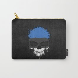 Flag of Estonia on a Chaotic Splatter Skull Carry-All Pouch