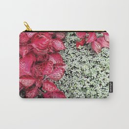 Pink Leaves on Green Carpet Carry-All Pouch