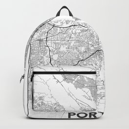 Minimal City Maps - Map Of Portland, Oregon, United States Backpack