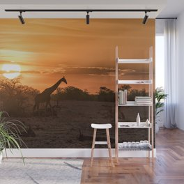 Silhouette of a Giraffe at Sunset at Okaukuejo In Etosha National Park Wall Mural