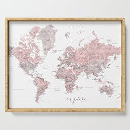 Explore - Dusty pink and grey watercolor world map, detailed Serving Tray
