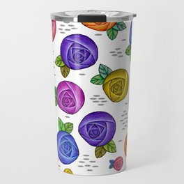 Retro Illustrated Roses Travel Mug
