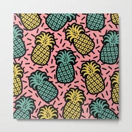 Memphis Pineapple Pattern 223 Metal Print