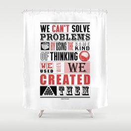 Lab No. 4 - Albert Einstein Inspirational Typography Quotes Poster Shower Curtain