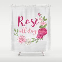 Rose All Day - White Wood Shower Curtain