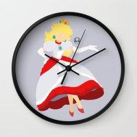 princess peach Wall Clocks featuring Princess Peach(Smash)Fire by samaran