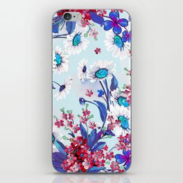 Cool blue floral garland texture iPhone Skin