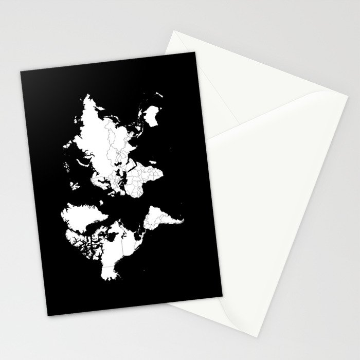 Minimalist world map white on black background stationery cards by minimalist world map white on black background stationery cards gumiabroncs Image collections