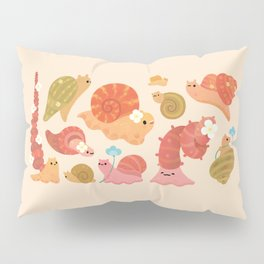 Snail and small flowers Pillow Sham