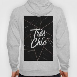 Tres Chic Black Geometric Marble Gold Triangles Hoody