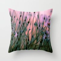 snatch Throw Pillows featuring Dawn  by The Dreamery