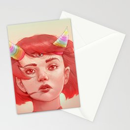Red girl with horns Stationery Cards