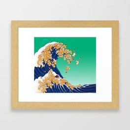 Christmas Shiba Inu The Great Wave Framed Art Print
