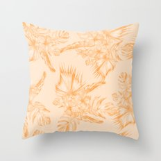 Island Vacation Hibiscus Coral Mango Orange Throw Pillow