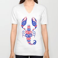 patriotic V-neck T-shirts featuring Patriotic Scorpion by Cat Coquillette