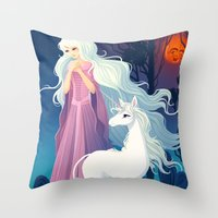 the last unicorn Throw Pillows featuring The Last Unicorn by Tami Wicinas
