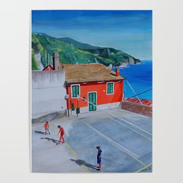 Italian village basketball Poster