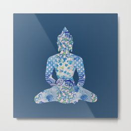 Buddha Vintage Floral Pattern Blue Navy Teal Turquoise Metal Print