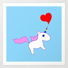 Heart Horn Unicorn Art Print