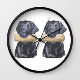 Flatcoated retriever and dumbbell Wall Clock