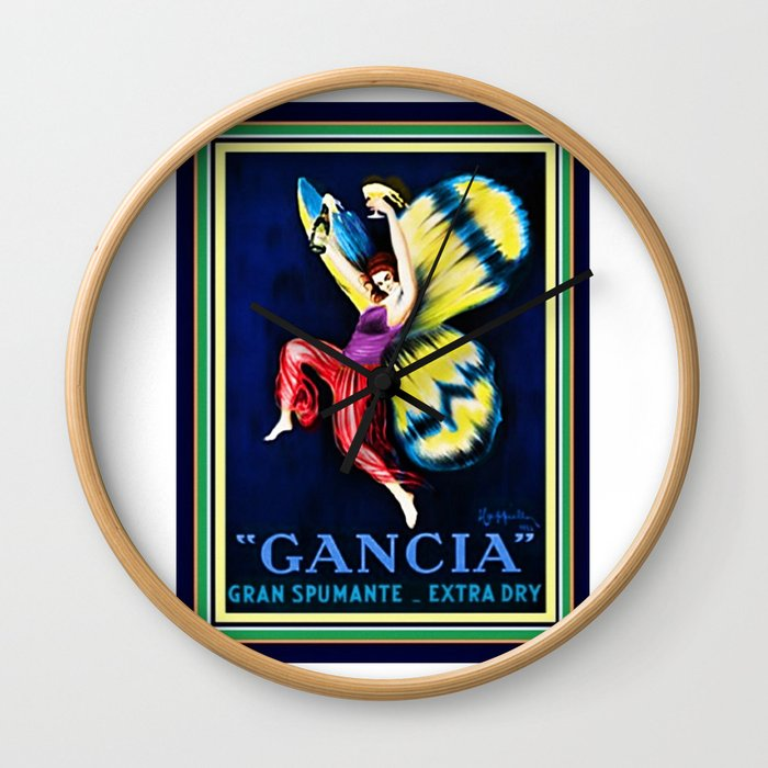 Vintage Gancia Gran Spumante Dry Lithograph Advertising Wall Art Style #1 Wall Clock