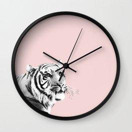 Tiger Black & White on Blush #1 #decor #art #society6 Wall Clock
