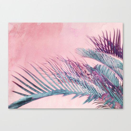 Velvet Pink Palms Canvas Print