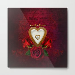 Wonderful hearts with roses Metal Print