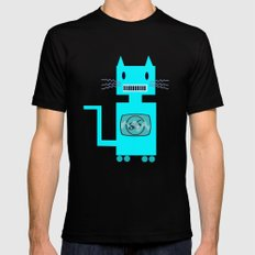 Robot Cat Black Mens Fitted Tee 2X-LARGE