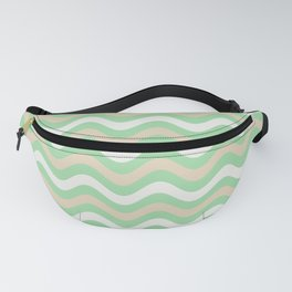 Pastel Green, Beige & Linen White Stripes Wavy Pattern Pairs to 2020 Color of the Year Neo Mint Fanny Pack