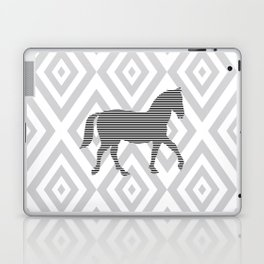 Horse - Abstract geometric pattern - gray, black and white. Laptop & iPad Skin