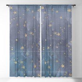 Gold stardust night sky Sheer Curtain