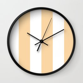 Wide Vertical Stripes - White and Sunset Orange Wall Clock