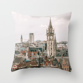 Seeing old and new architecture within Brussels cityscape Throw Pillow