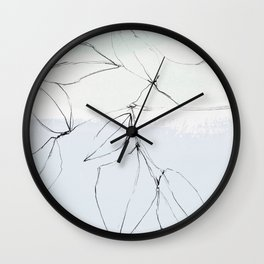 leaves on pastel blue & mint Wall Clock