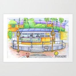 banana cafe Art Print