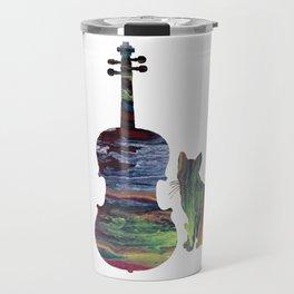 Viola Cat Art Travel Mug
