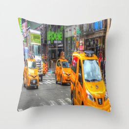 New York Taxis Times Square Throw Pillow