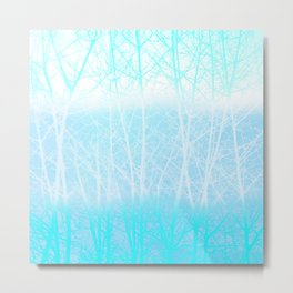 Frosted Winter Branches in Misty Blue Metal Print