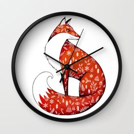 Winter fox Wall Clock