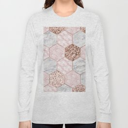 Rose gold dreaming - marble hexagons Long Sleeve T-shirt